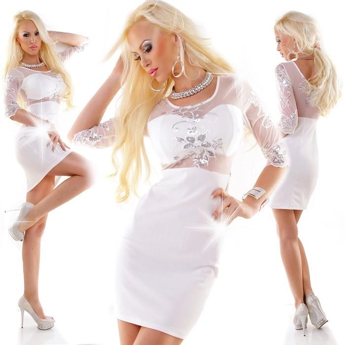 85aed97e67da Elegantné Dámske Koktailové Spoločenské Mini Krátke Šaty s Výšivkou a  Kamienkami - Biele