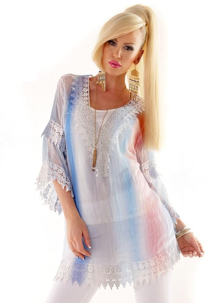 04f3d298c110 2v1 Dámska hodvábna letná tunika + top   Plážové mini šaty - Biela modrá mix
