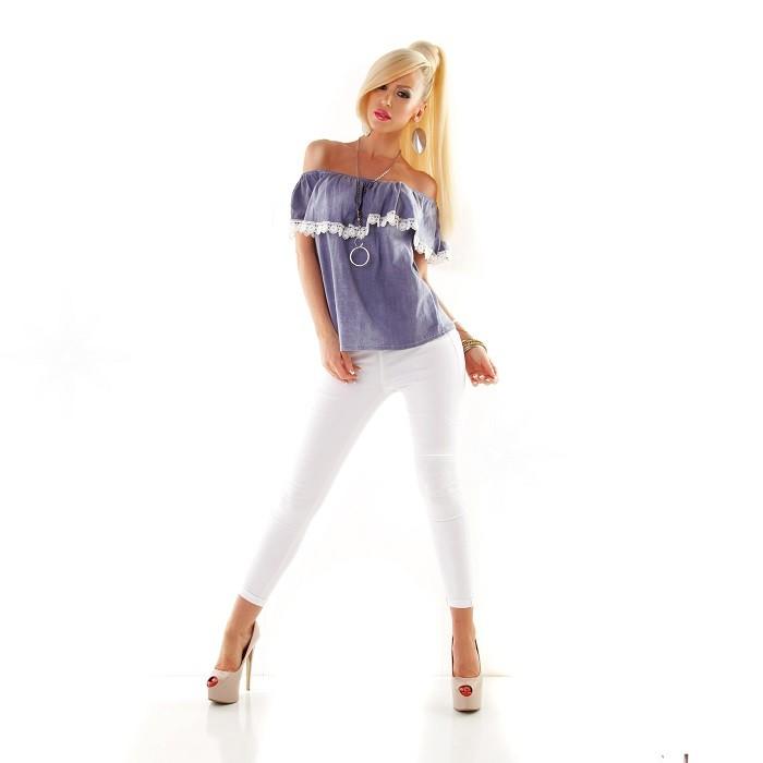 918f0e883bae Dámske riflové čipkované voľné letné tričko blúzka top tunika s volánom