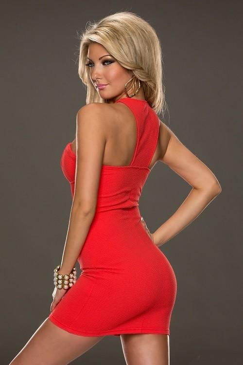7a7cd7736288 Dámske elastické letné mini šaty okolo krku Halter so zipsom - červená