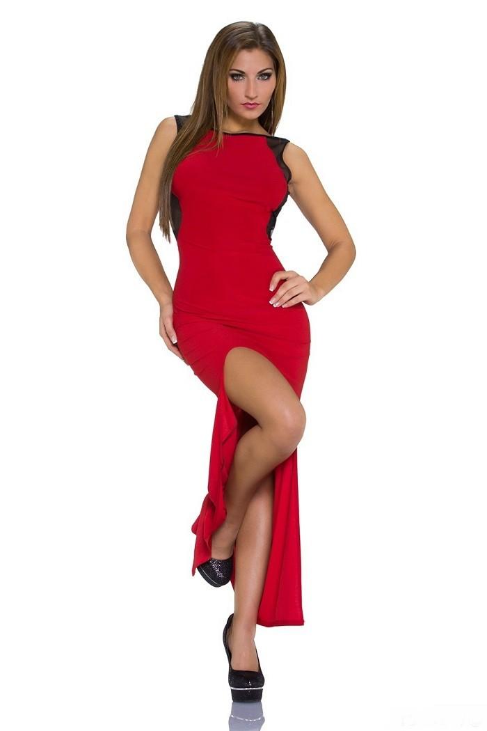 cad338cefbe0 Dámske elastické letné dlhé jemne transparentné šaty so sieťovinou a  rázporkom - červená
