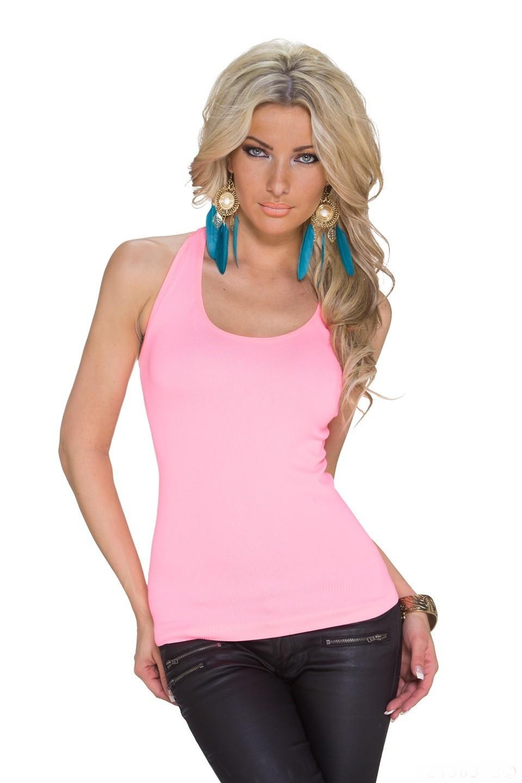 7b89fdeb6 Dámsky elastický letný top tričko tielko s krajkou na chrbáte - neónová sv.  ružová