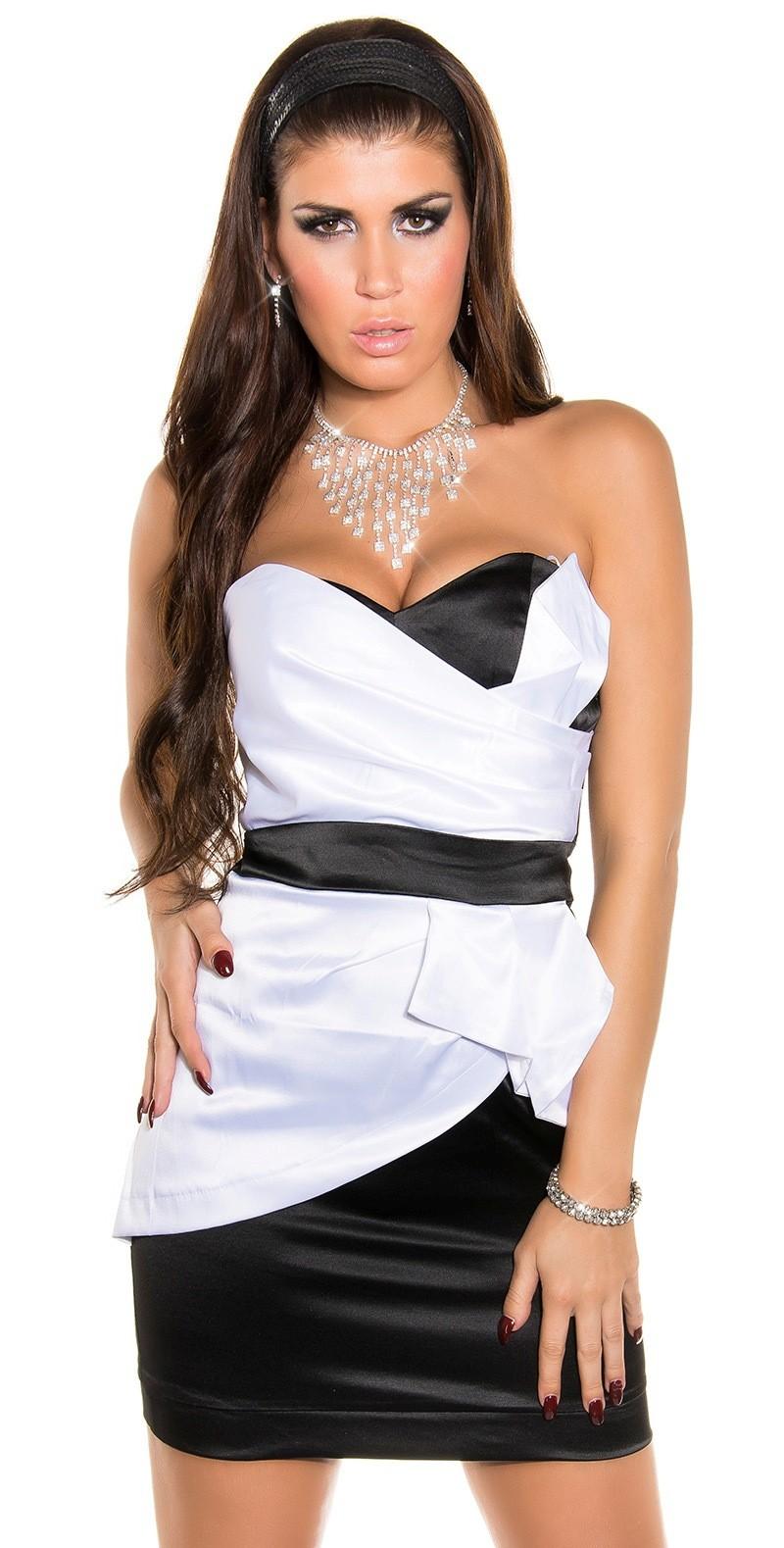 Nádherné dámske hodvábne elastické mini elegantné šaty dvojfarebné - čierna    biela 08ac6aa008a