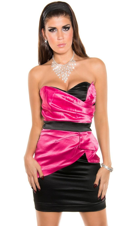 Nádherné dámske hodvábne elastické mini elegantné šaty dvojfarebné - čierna   ružová 73497aa5334