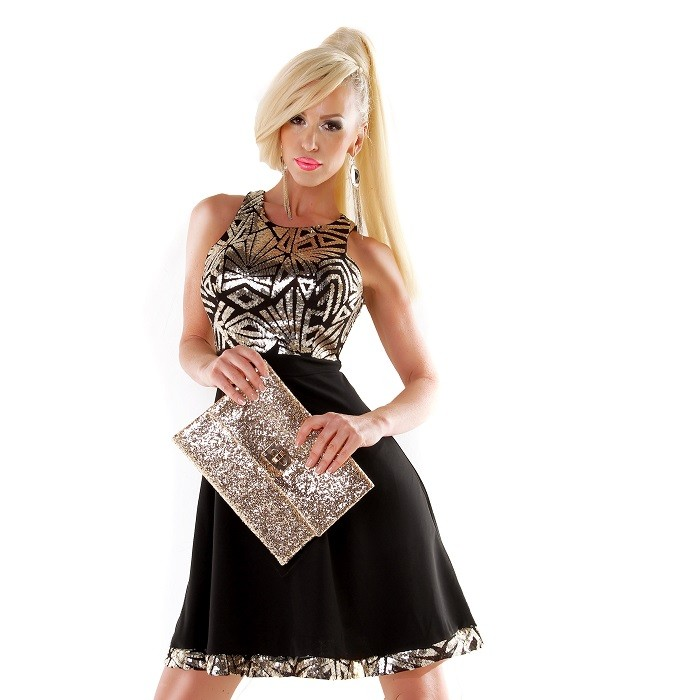 eefc7e4208dc Dámske elastické spoločenské sviatočné mini šaty s flitrami - zlaté ...