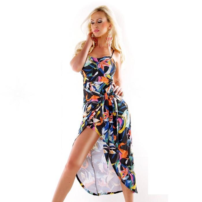 """581fd3170c33 Exkluzívne dámske letné dlhé šaty na ramienka """"Wrap"""" - modré ..."""