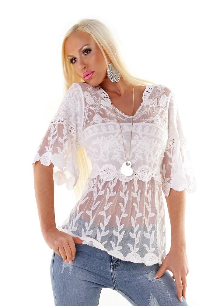 238a8fa7adf5 Exkluzívne dámske letné tričko tunika so sieťovinou a krajkou - biela