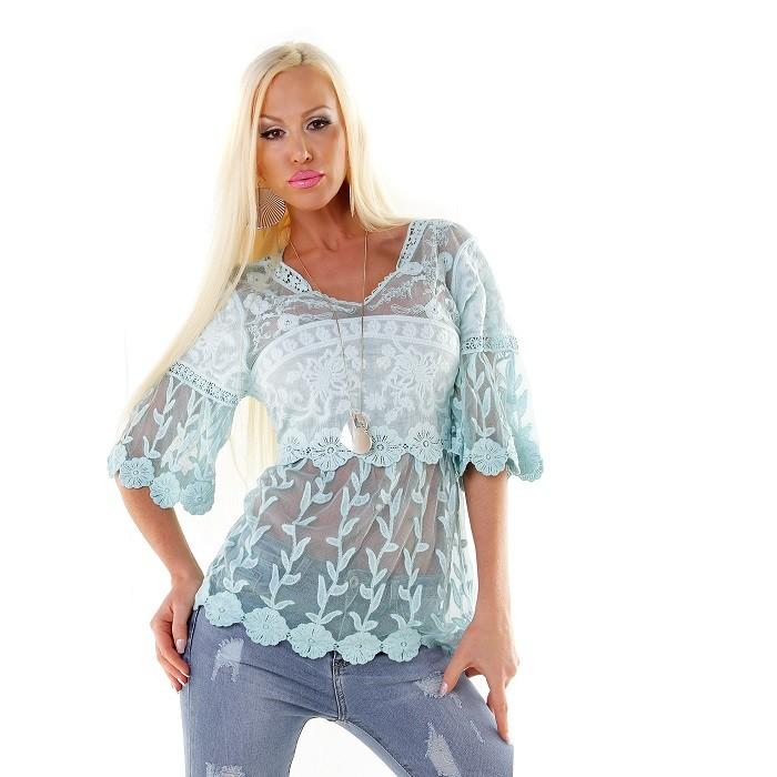 61bf2ee4c76f Exkluzívne dámske letné tričko tunika so sieťovinou a krajkou - mentolová