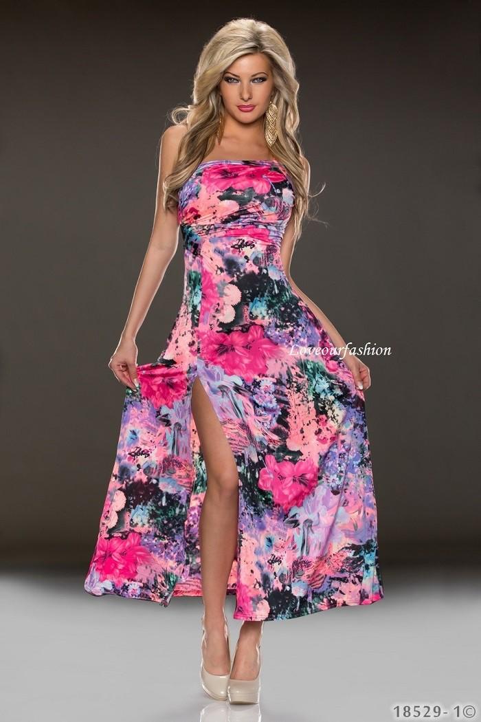45ed97151c8b Exkluzívne dámske letné dlhé šaty s kvetinami cez jedno rameno - ružová