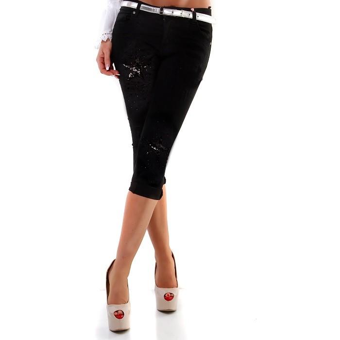 0e2dab1bbbb6 Capri 3 4 dámske letné ľahké elastické nohavice rifle - čierna ...