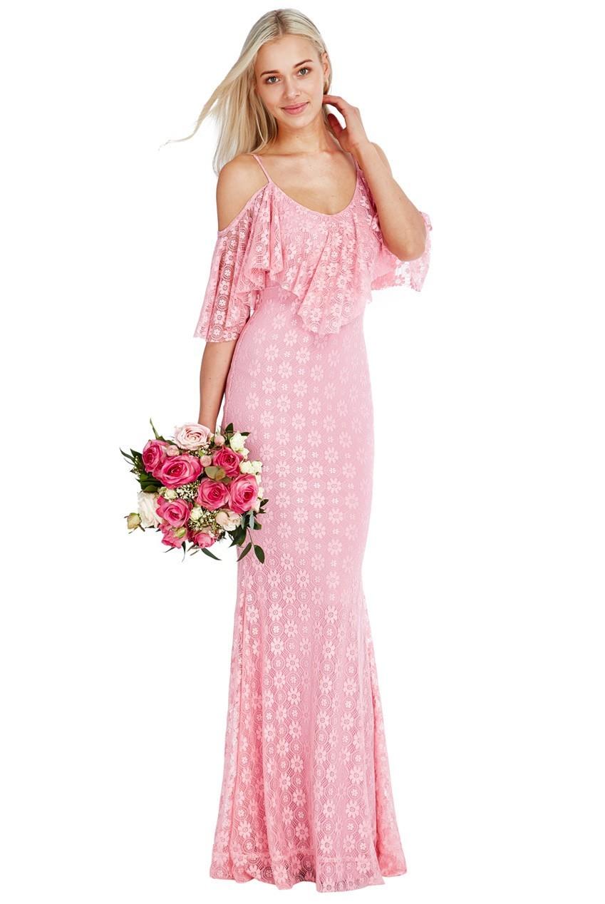 Elegantné letné dlhé spoločenské čipkované šaty Carmen - baby ružová ... 6b6264b884c