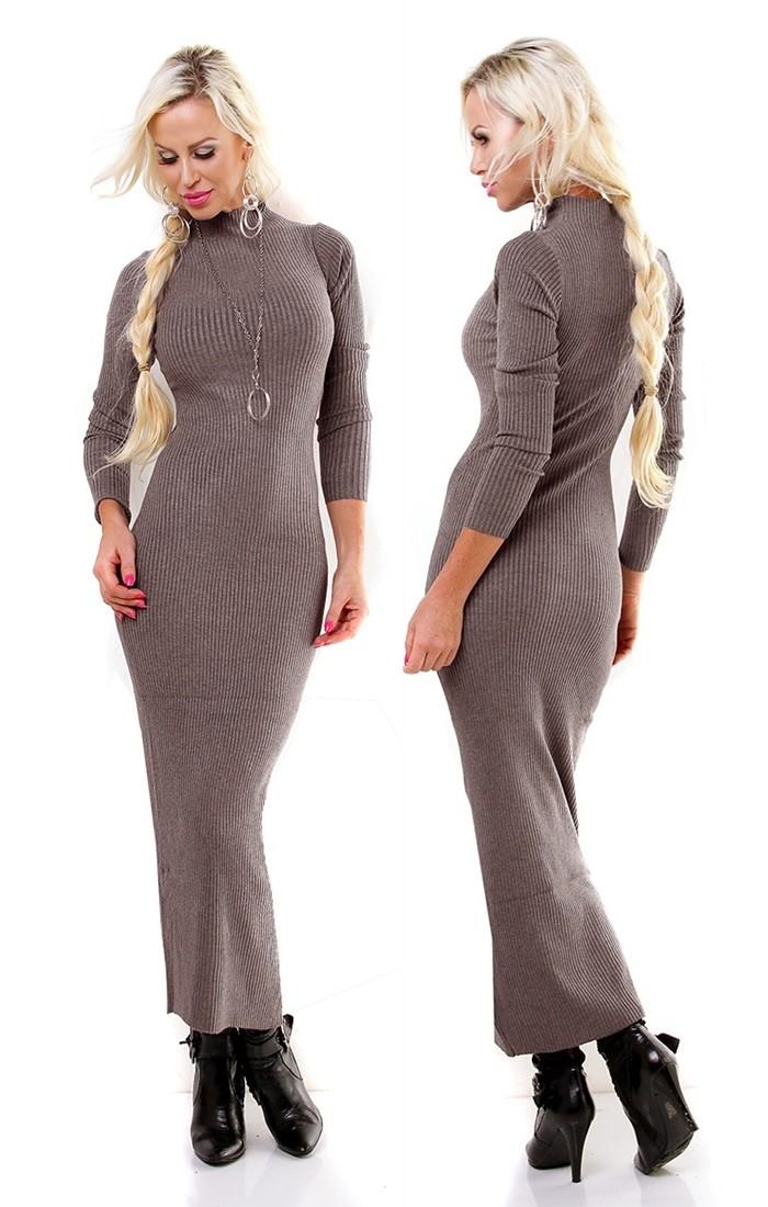 f30938dbe2 Dámske vlnené dlhé šaty   pulover - khaki Loveourfashion.sk