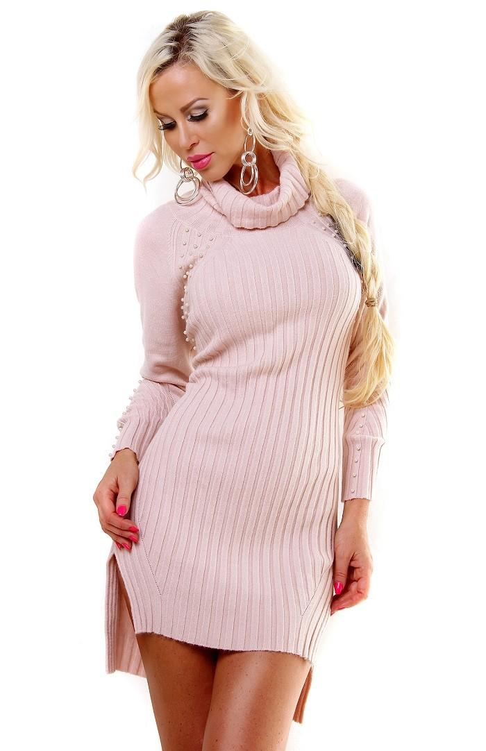 ee44f745d91c Dámske pletené mini šaty   dlhý pulover - ružová Loveourfashion.sk