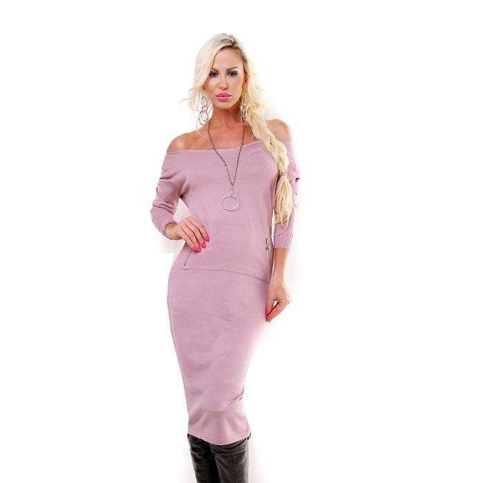 3b9f70381e54 Dámske midi úpletové minišaty   dlhý pulóver - ružová Loveourfashion.sk