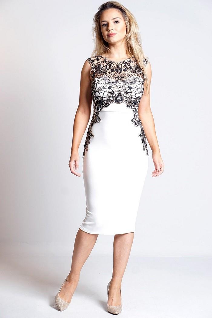 14b27ba48d62 Exkluzívne spoločenské midi šaty s háčkovaním Loveourfashion.sk