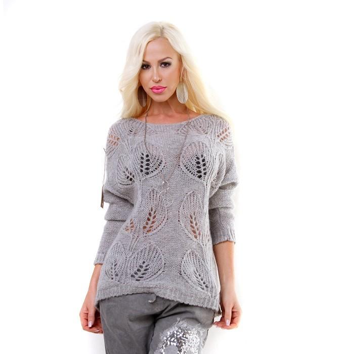 415204331bd2 Dámsky zimný pletený sveter pulover - sivá Loveourfashion.sk