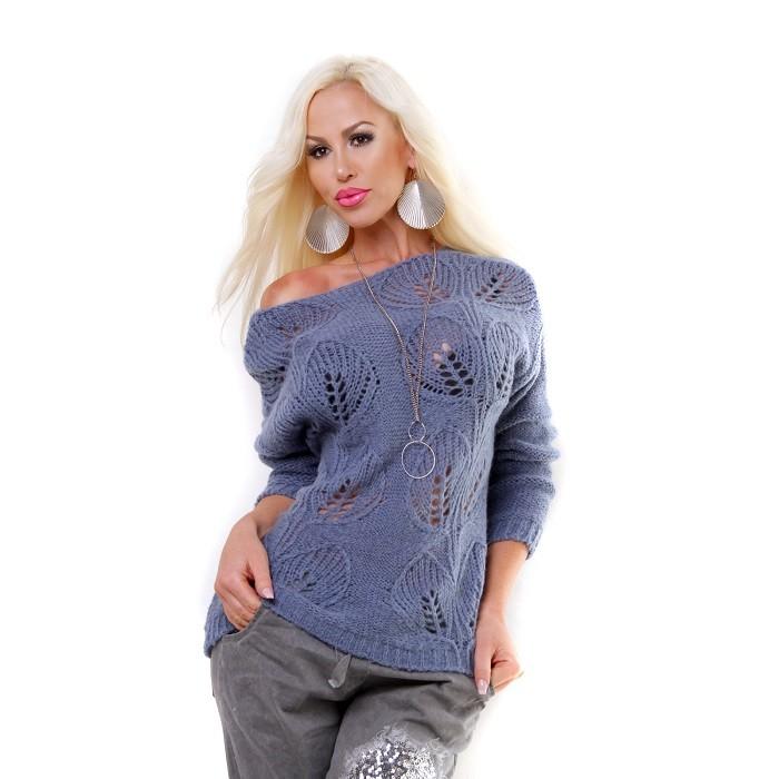 Dámsky zimný pletený sveter pulover - modrá Loveourfashion.sk ad7584669b1