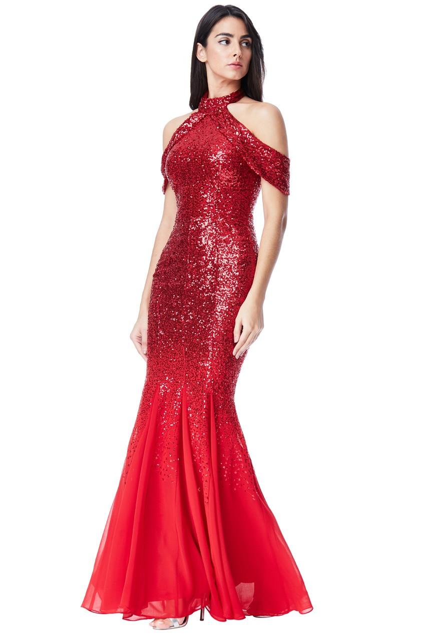 67a39724b09c Spoločenské dlhé flitrované šaty - červená Loveourfashion.sk