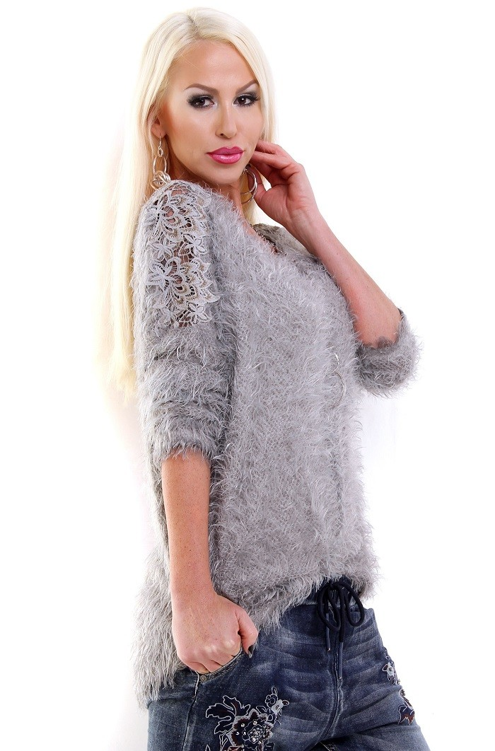d4373fd2e5e0 Dámsky oversized pletený sveter pulover - sivá Loveourfashion.sk