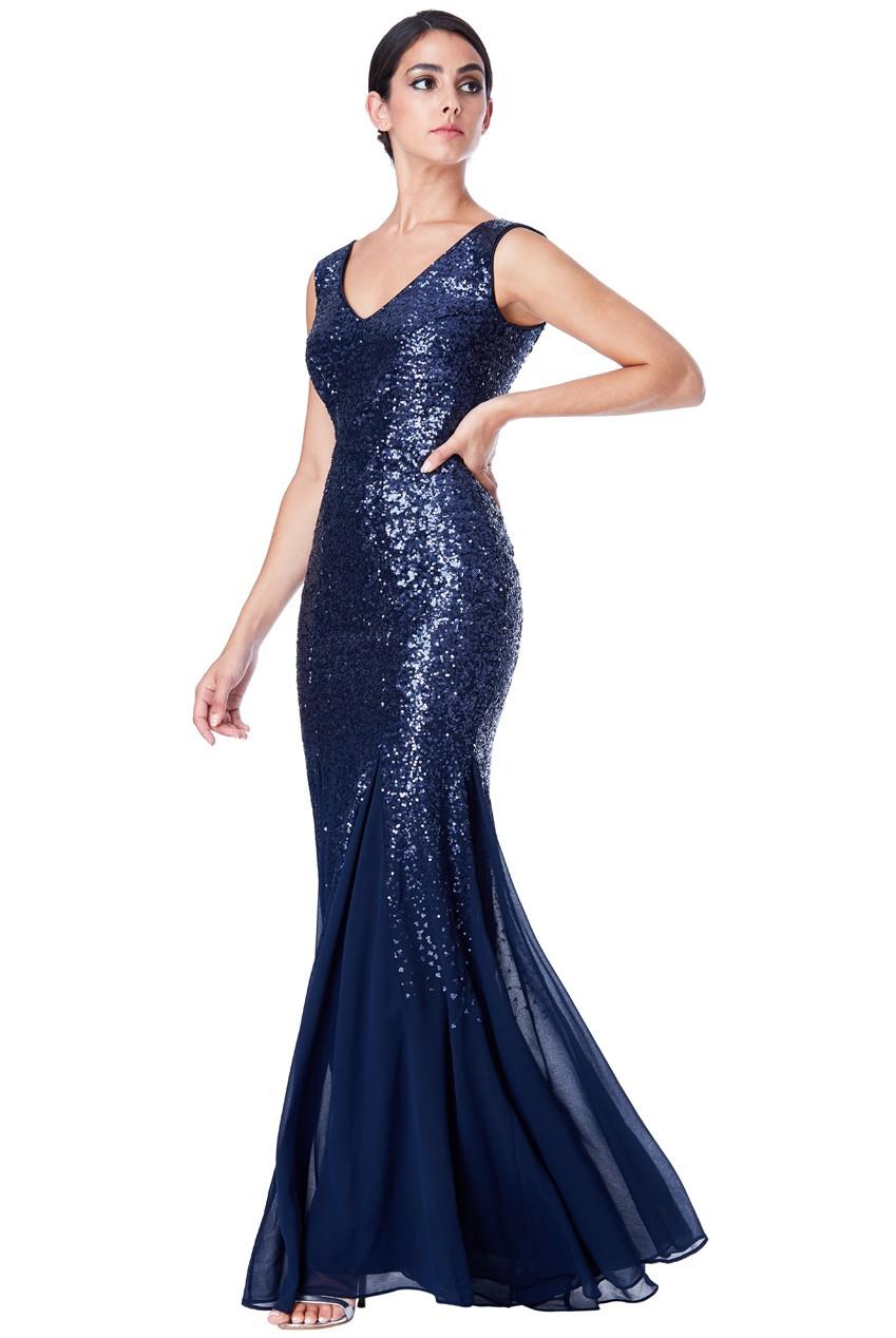 Spoločenské dlhé plesové flitrované šaty - modrá Loveourfashion.sk 824d7c35c72