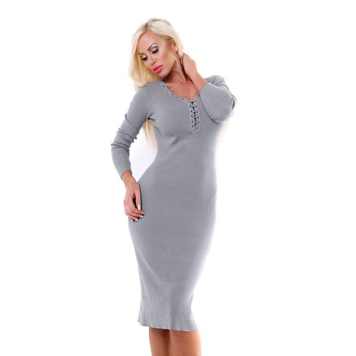 873890d0d97d Dámske midi pletené šaty - sivá Loveourfashion.sk