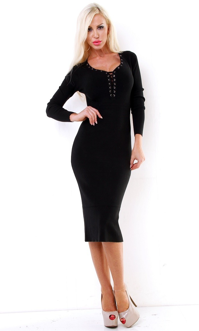 367fb1afa3 Dámske midi pletené šaty - čierna Loveourfashion.sk