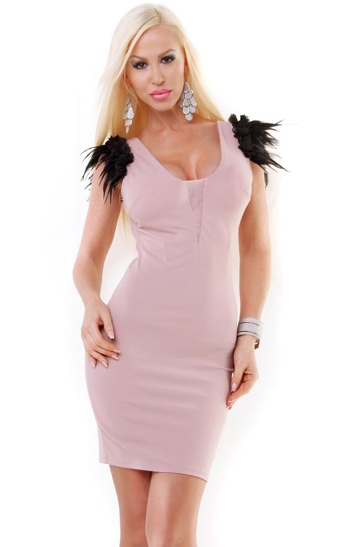 Dámske spoločenské koktejlové mini šaty - ružová Loveourfashion.sk a70d98ea45