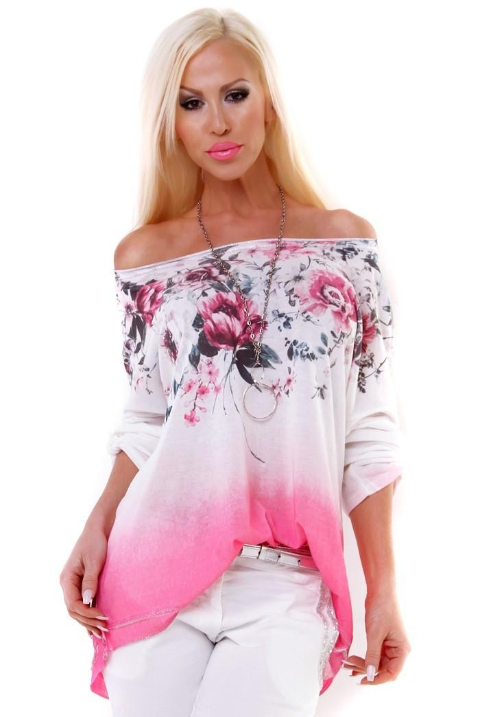 9e09097ccb33 Exkluzívna dámska predĺžená tunika s kvetinovou potlačou - ružová ...