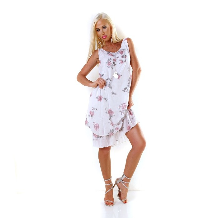 8f0b91965ace Dámske letné plážové midi šaty na ramienka s volánom - biela ...
