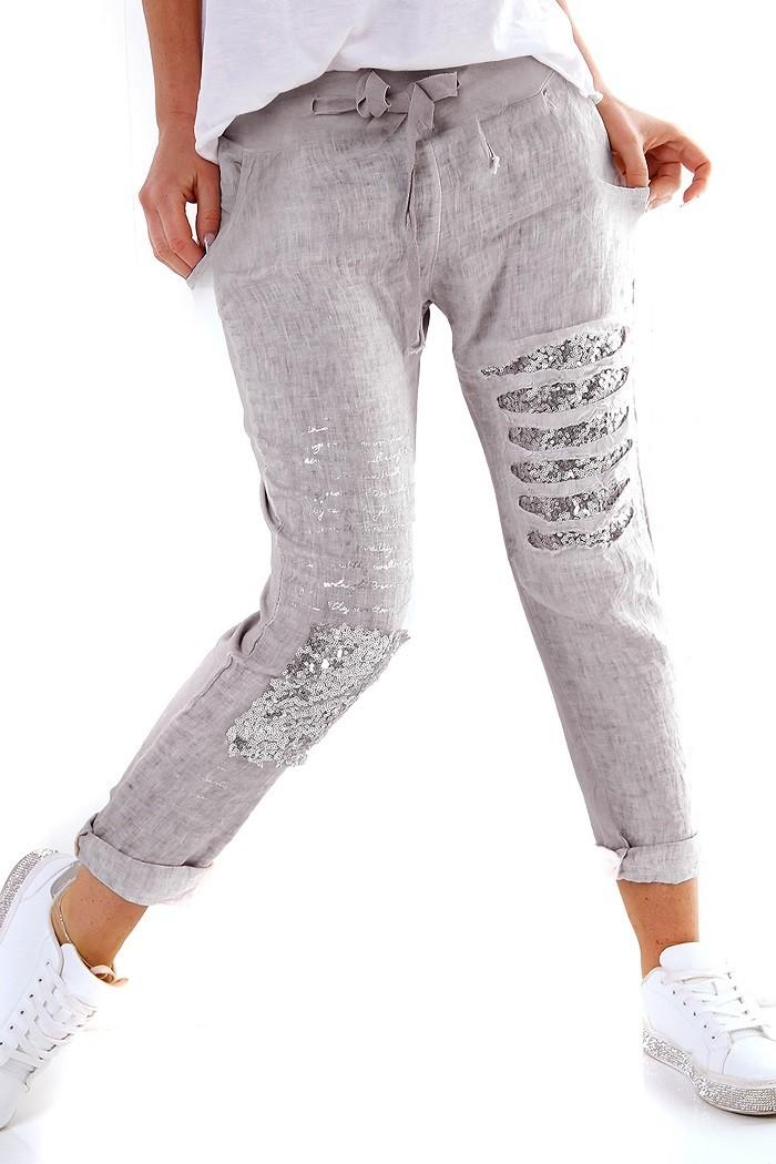 49360b2b4655 Chino boyfriend-harem ľanové dámske letné nohavice s flitrami a odleskom -  sivá