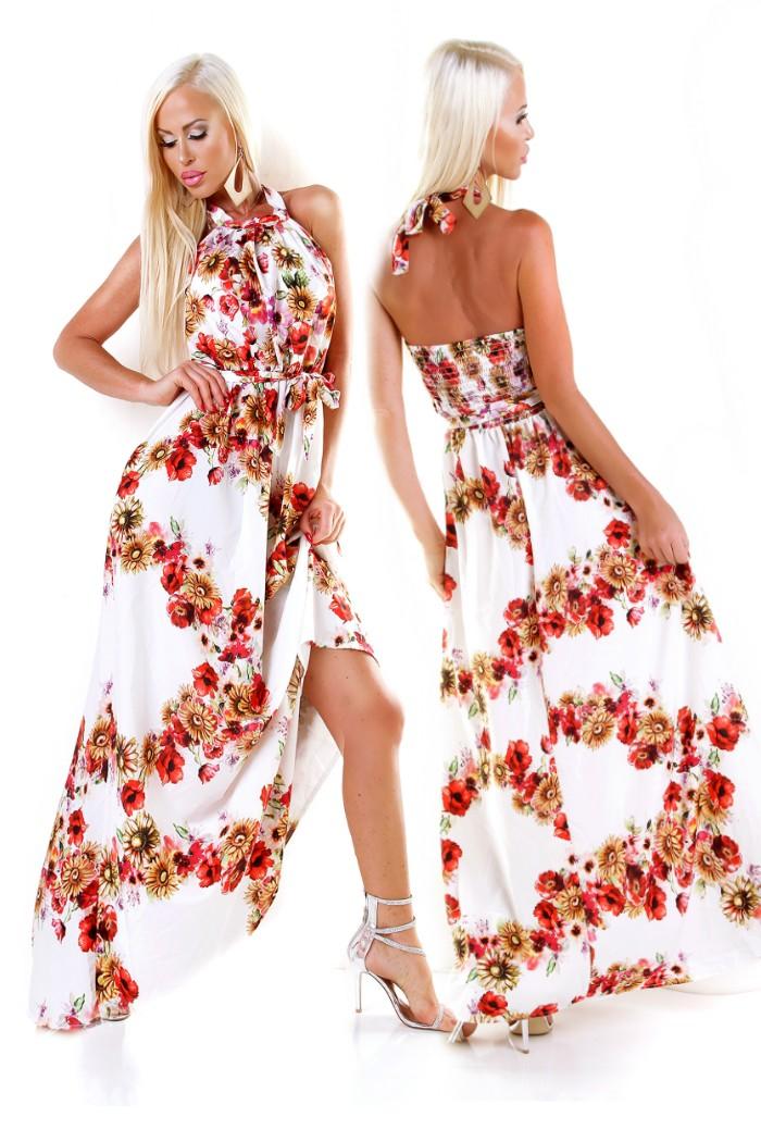 57d2664ee337 Dámske dlhé letné Maxi šaty s kvetinovou potlačou s opaskom - biela ...