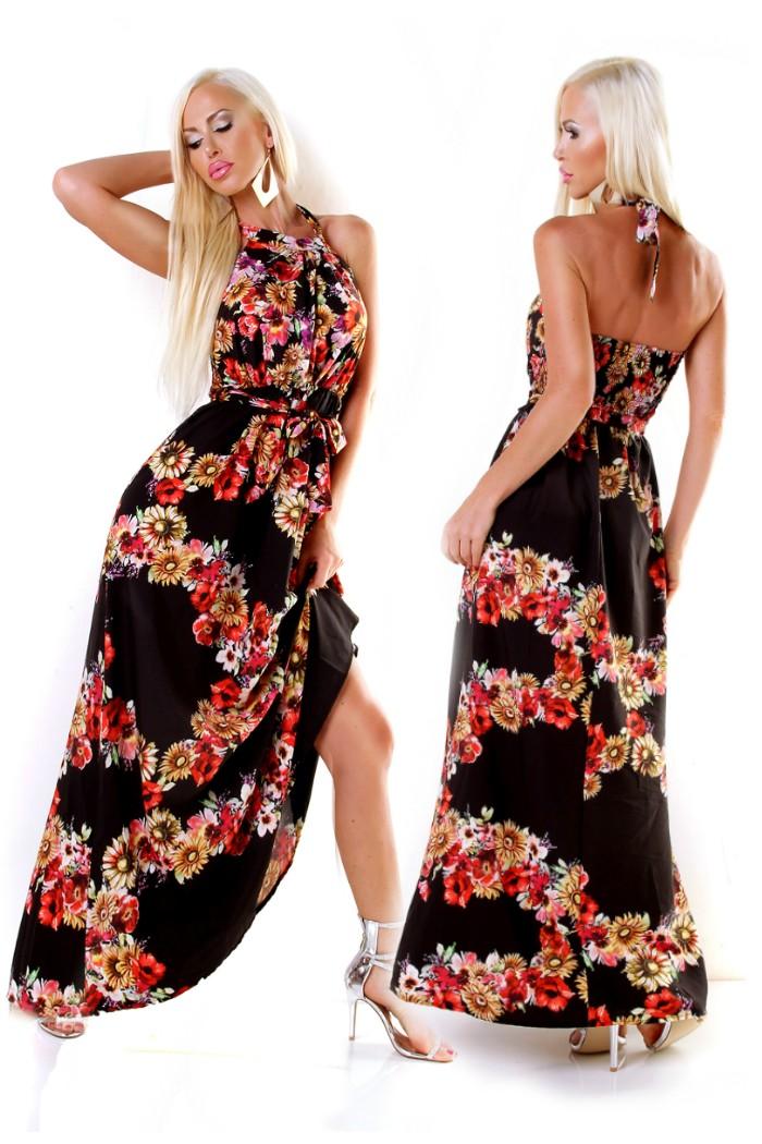 0408c760567b Dámske dlhé letné Maxi šaty s kvetinovou potlačou s opaskom - čierna ...