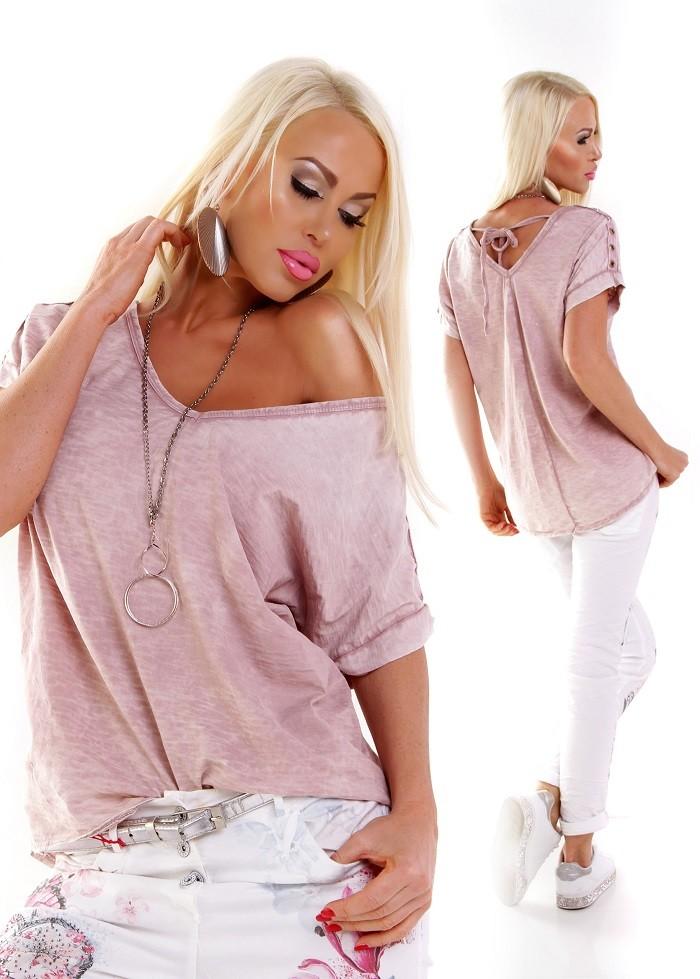 60658a572 Dámske letné tričko top oversized so šnurovaním - ružová ...