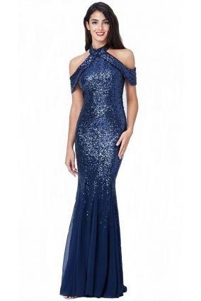 Spoločenské dlhé flitrované šaty - modrá f01abe5911d