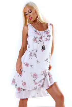 539226db0695 Nové Dámske letné plážové midi šaty na ramienka s volánom - biela