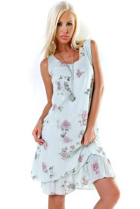 e9209dc44c2e Nové Dámske letné plážové midi šaty na ramienka s volánom - mentolová