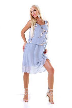 cf047fcf0ec2 Nové Dámske letné midi šaty s kvetinovou nášivkou - modré