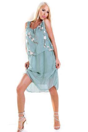 117b6e8c64f0 Nové Dámske letné midi šaty s kvetinovou nášivkou - zelené
