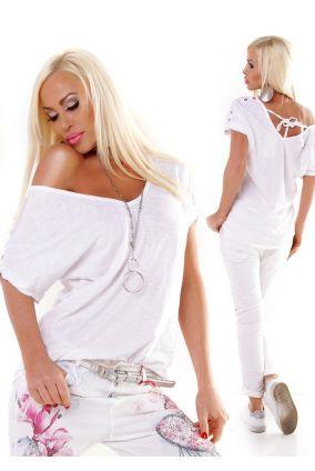 35199c344e11 Nové Dámske letné tričko top oversized so šnurovaním - biela