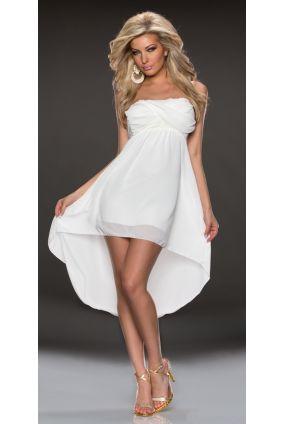 c6126e58df30 Nové Dámske letné asymetrické šifónové mini šaty s romantickou krajkou -  biela